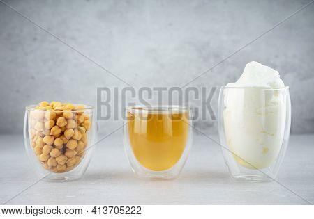 Chickpea Aquafaba. Egg Replacement. Vegan Cooking Concept. Chickpea, Chickpea Water, Whipped Chickpe
