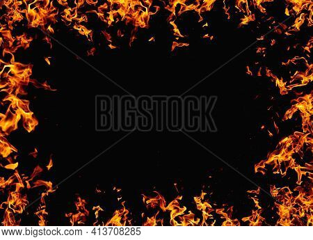 Inferno Banner. Fire Frame. Ignite Explosion. Bright Orange Yellow Flame Glow Pattern Isolated On Bl