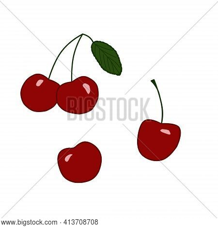 Ripe Red Cherry Berries On White Background. Outline Drawing. Color Illustration. Design Elements, S