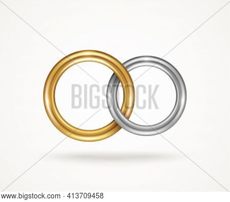 Two Connected Engagement Rings Isolated On White Background. Vector Illustration. Silver Or Titanium