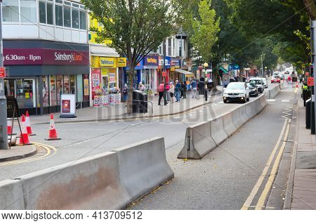 Cleethorpes, North East Lincolnshire, England, Uk - September 16, 2020: Social Distancing Barriers I