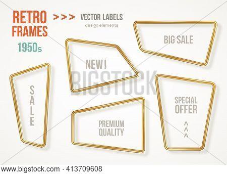 Set Of Retro 3d Golden Frames Isolated On White Background. Vector Illustration. Vintage Square Labe
