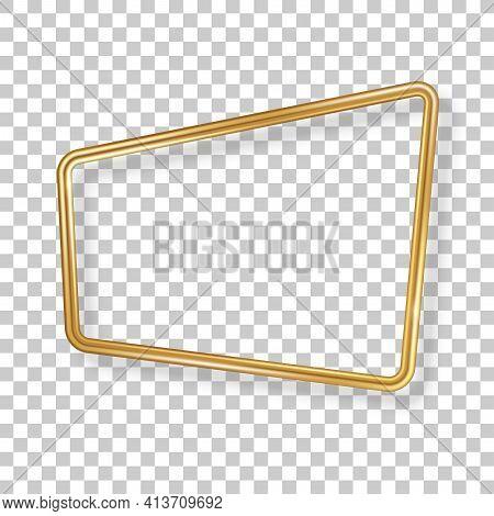 Retro 3d Golden Frame Isolated On Transparent Background. Vector Illustration. Vintage Square Label,