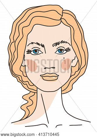 European Blonde Girl Abstract Portrait Of Young Woman With Curly Hair. Line Drawing Face Aesthetic C