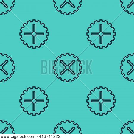 Black Line Bicycle Sprocket Crank Icon Isolated Seamless Pattern On Green Background. Vector