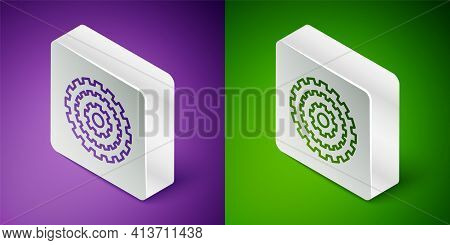 Isometric Line Bicycle Cassette Mountain Bike Icon Isolated On Purple And Green Background. Rear Bic
