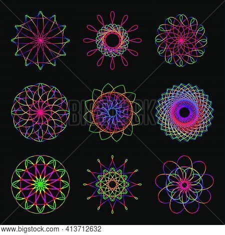 Set A Multicolored Circular Pattern. Kaleidoscope. Eastern Ornament. Suitable For Greeting Cards, In