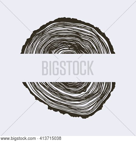 Wooden Cross Section. Vector Wood Texture Wavy Ring Pattern Of A Slice Of Wood. A Wooden Stump In Sh