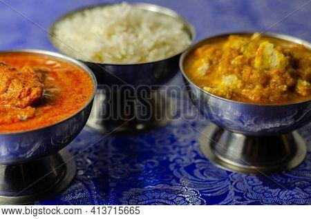 Mild Chicken Korma And Chicken Tikka Masala With Basmati Rice, Indian Food
