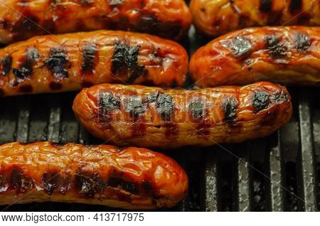 Grilled Classic British Sausage Made From Prime Cuts Of Pork