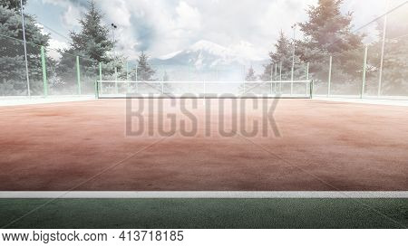 Tennis Court. Front View. Trees And Mountains Around The Tennis Court In Nature. Mountain In The Bac