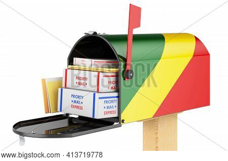 Mailbox With Congo Flag With Parcels, Envelopes Inside. Shipping In Congo, Concept. 3d Rendering Iso