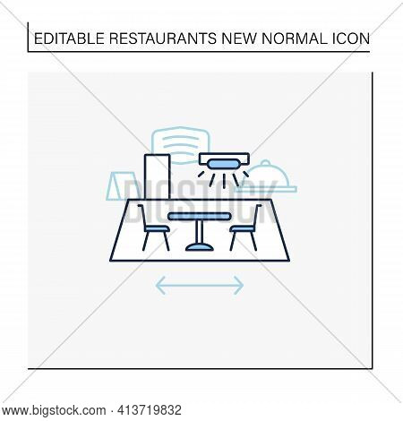Restaurant Disinfection Line Icon. Ultraviolet Light Disinfection. Furniture Disinfect. Regulation T