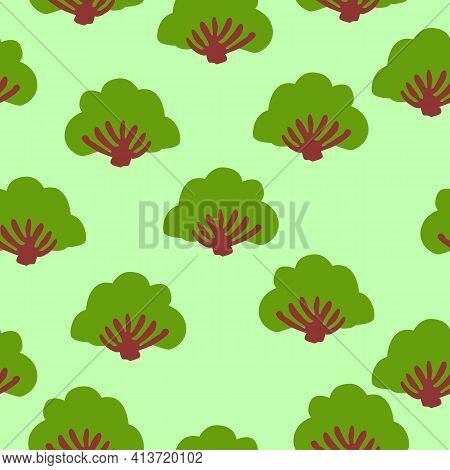 Seamless Pattern With Green Deciduous Tree, Fir Tree, Bushes. Black Background. Cartoon Style. Sprin