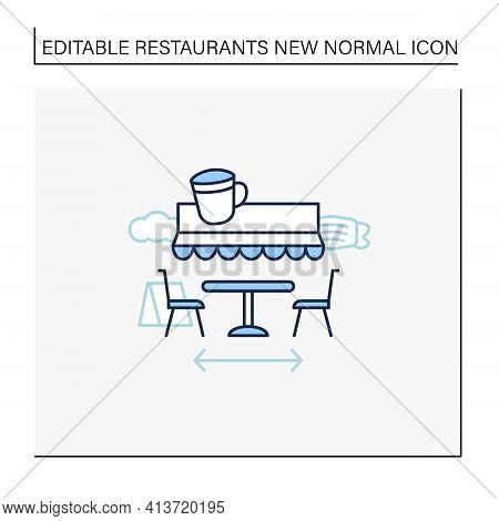 Terrace Cafe Line Icon. Dinner In Restaurant Terrace. Forced Distance. Regulation Through Covid19. R