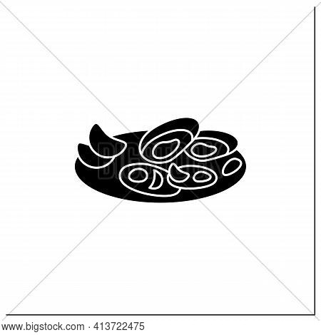 Asari Clams Glyph Icon.fried In Butter Clams On Plate. Traditional Dish.spring Japanese Food Concept
