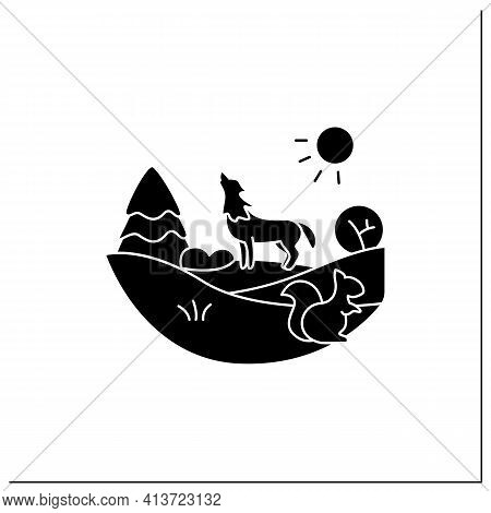 Temperate Forest Glyph Icon.forest Found Between Tropical, Boreal Regions, Located In Temperate Zone