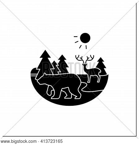 Taiga Forest Glyph Icon. Boreal Forest Or The Coniferous Forest. Living Place For Dangerous And Wild