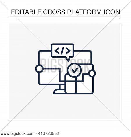 Cross Platform Software Line Icon. Implemented On Multiple Computing Platforms. Programming Environm