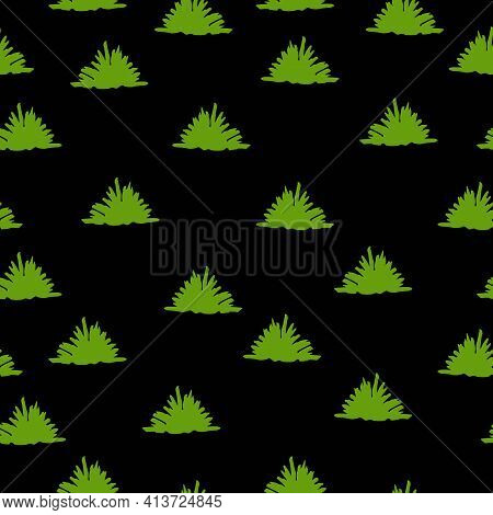 Vector Seamless Pattern With Green Trees And Bushes. Black Background. Cartoon Style. Spring And Sum