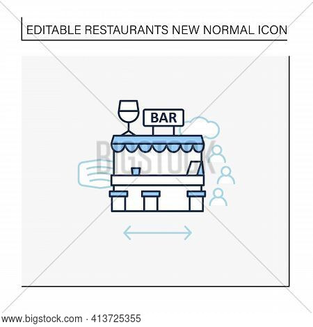 Outdoor Bar Line Icon. Outdoor Dining Space. Forced Distance.regulation Through Covid19. Restaurants