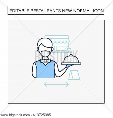 Worker Uniform Line Icon. Restaurant Worker In Face Mask And Gloves. Additional Protection. New Norm