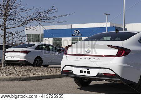 Noblesville - Circa March 2021: Hyundai Sonata Awaiting Dealer Prep. Hyundai Is A South Korean Multi