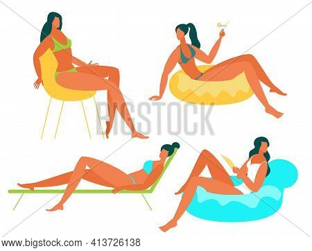 Flat Design Young Woman Relaxing At The Beach, Poses And Activities. Women Sunbathing, Sitting, Stan