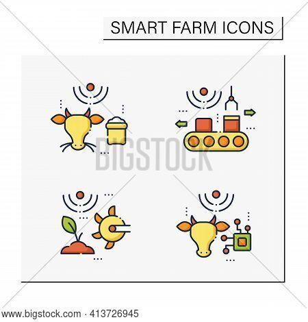 Smart Farm Color Icons Set. Consist Of Soil Tilling, Rfid Animal Identification, Feeding Livestock,