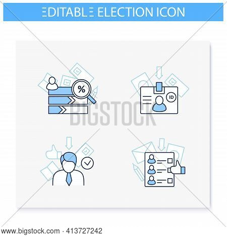 Election Line Icons Set. Vote Counting, Voter Id, Winner, Ballot. Choice, Vote Concept. Democracy. P