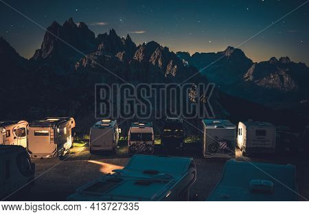 Scenic Starry Sky Rv Park Camping In The Dolomites. Camer Van Overnight Stay In The Mountain Scenery