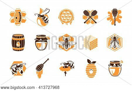 Beekeeping Apiary Icons, Vector Emblems With Honey Products And Bees. Beehive Honeycomb, Wooden Barr
