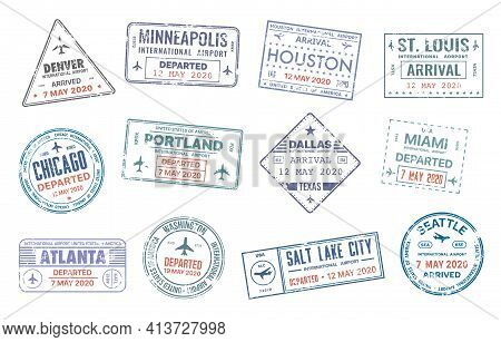 Passport Travel Vector Stamps With Usa City Names Denver, Minneapolis, Houston, St. Louise And Chica