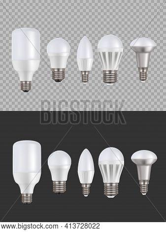 Led Lamps, Fluorescent Light 3d Vector Bulbs, Luminescence Illumination Energy Saving Equipment. Low