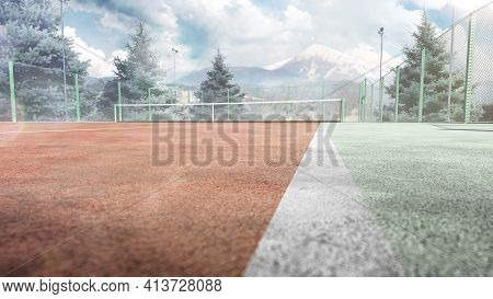 Tennis Court. Trees And Mountains Around The Tennis Court In Nature. 3d Rendering. Mountain In The B