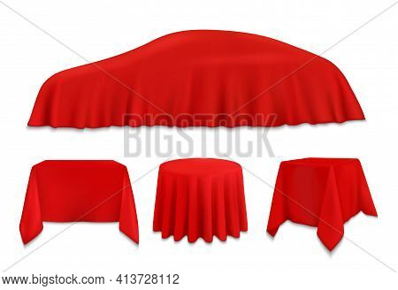 Red Silk Cloth Covered Objects, Hanging Napkin Or Tablecloth On Car, Square, Round And Rectangular T