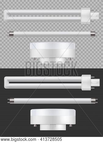 Fluorescent Lamps, 3d Vector Luminescence Illumination Long Tubes, Energy Saving Equipment. Daytime