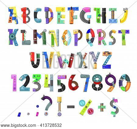 Kids Robot Alphabet, Font Or Type, Vector Letters, Digits And Punctuation Marks In Child Technology