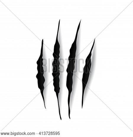 Eagle Claw Marks, Scratches, Predator Bird Nails Vector Traces. Wild Animal Talon Rips, Tiger Bear O