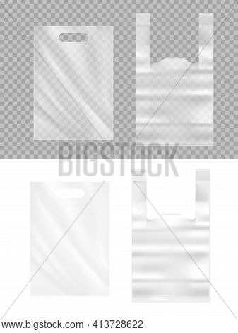 Realistic Plastic Bags 3d Vector Mockup. Transparent Polythene Packages With Handle For Products Or