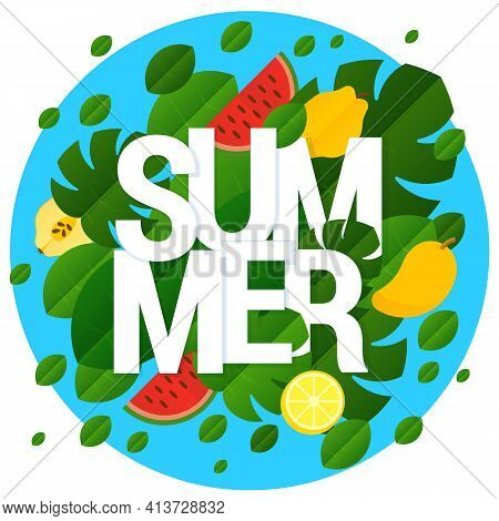 Flat Design Vector Summer Template Design With Paper Cut Letters And Tropical Fruits And Leaves Over