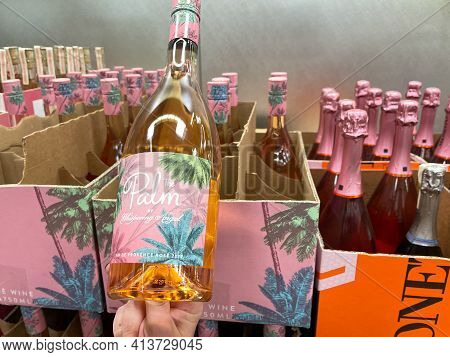 Bottles Of The Palm By Whispering Angel Rose Wine At A Sams Club In Orlando, Florida.