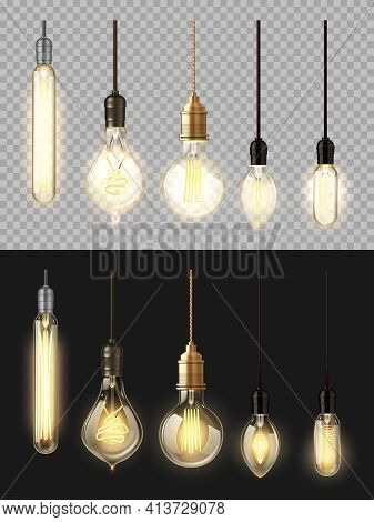 Glowing Lamps, Vector Filament Bulbs. Retro Edison, Incandescent Vintage 3d Lightbulbs Of Different