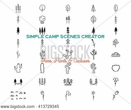 Simple Trees And Cactuses Icons Shapes Set. Logo Creation Kit. Outdoor Adventure Line Art Elements B