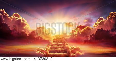 Stairway Leading Up To Sky At Sunrise - Resurrection And Entrance Of Heaven