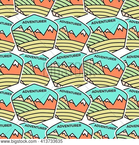 Camping Adventure Badges Pattern. Outdoor Adventurer Seamless Background With Tent, Mountains, Cabin