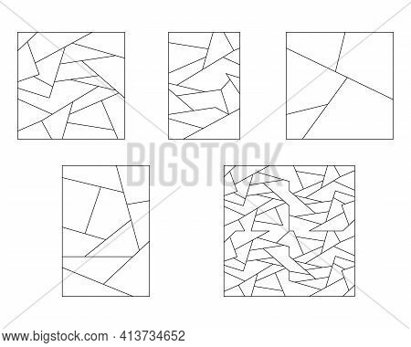 Unusual Abstract Blank Jigsaw Puzzles Set. Simple Line Art Style For Printing And Web. Geometric Tri