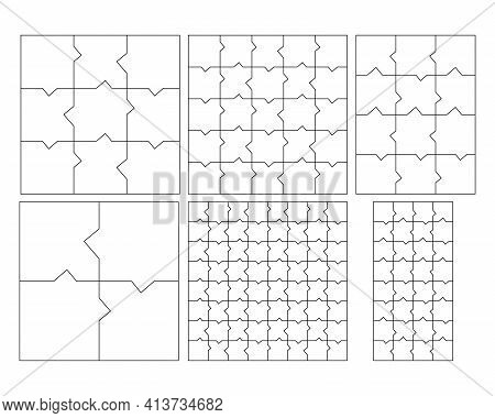 Unusual Abstract Blank Jigsaw Puzzles Collection. Simple Line Art Style For Printing And Web. Geomet