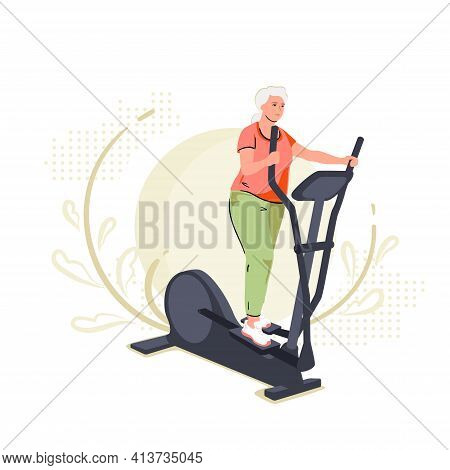 Active Senior Woman On Elliptical Cross Trainer At Home. Lifestyle Sport Activities In Old Age. Spor