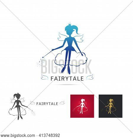 Fairy Flying Logo Vector Icon Cartoon Style. Set Of Elegant Fairy Silhouette Holding A Magic Wand Wi